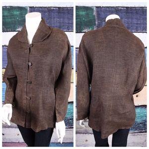 Su Zen 100% Linen Lagenlook Button Tunic Jacket